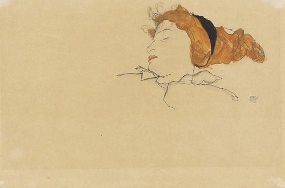 """EGON SCHIELE, """"SLEEPING WOMAN (WALLY NEUZIL)"""""""