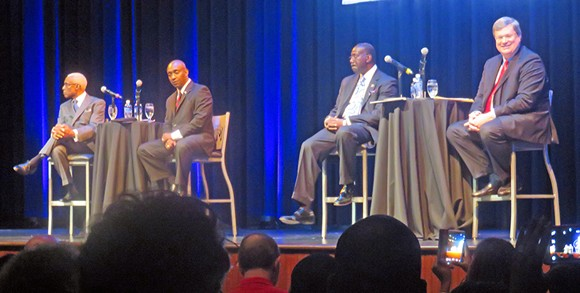 Before Wednesday night's debate l to r): Mayor A  C Wharton, Mike Williams, Harold Collins, Jim Strickland - JB