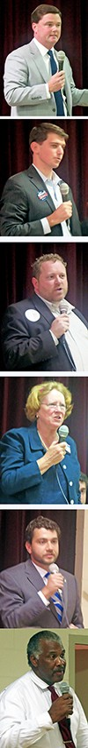 Candidates (from top, which was order of introduction): - Dan Springer; Worth Morgan; Chooch Pickard; Mary Wilder; John Marek; Jimmie Franklin - JB