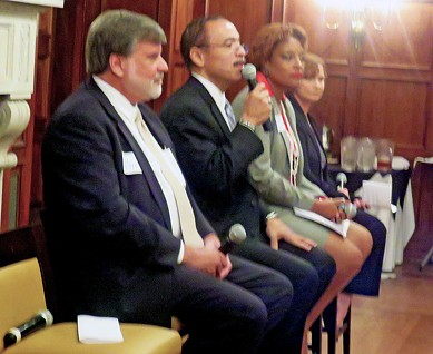 Candidates for the Super Districrt 9, Position 2 City Council seat — l to r, Paul Shaffer, Kenneth Whalum Jr., Stephanie Gatewood, and Lynn Moss —  had a spirited discussion Tuesday at a forum sponsored by the Rotary Club of Memphis. - JB