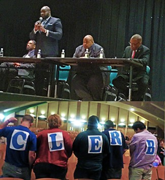 Boyd speaking at the District 7 Forum (top); CLERB supporters protesrting him (below) - JB