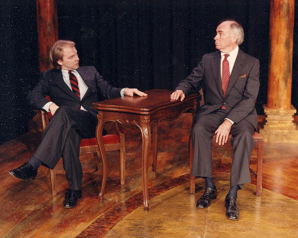 """Terry Scott and Bennett Wood in """"The School for Scandal"""" at Rhodes' McCoy Theatre. - COURTESY OF THE INTERNET"""