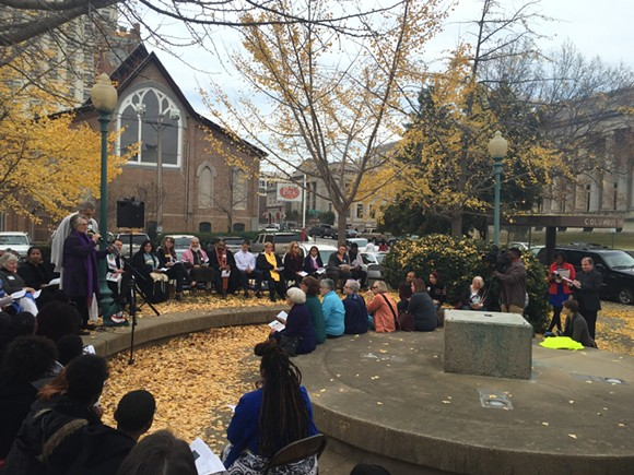 The Interfaith Prayer Service for Truth at Christopher Columbus Park. - TOBY SELLS