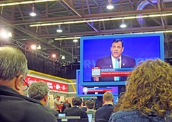 New Jersy Governor Christie (aka Brom Bones) loomed menadingly over media onlookers (and Marco Rubio) at Saturday's debate. - JB