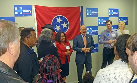 Cohen at Clinton HQ opening. Note that the cardboard cut-out of Hillary (far right, back) appears to be smiling at the congressman's words of support. - JB