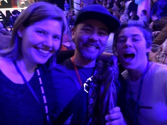 """Memphis filmmakers Joann Self Selvidge, Christopher Reyes,and Sarah Fleming celebrate their Best Editing win for the short documentary """"Viola""""."""
