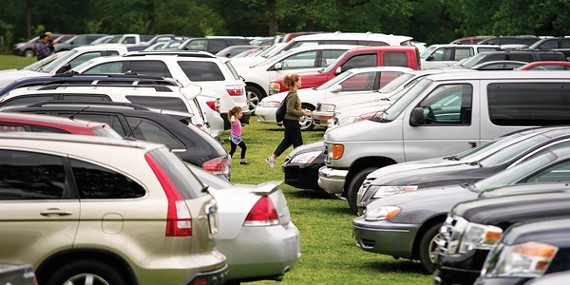 The Overton Park Greensward fills with cars during days the Memphis Zoo needs overflow parking. - BRANDON DILL