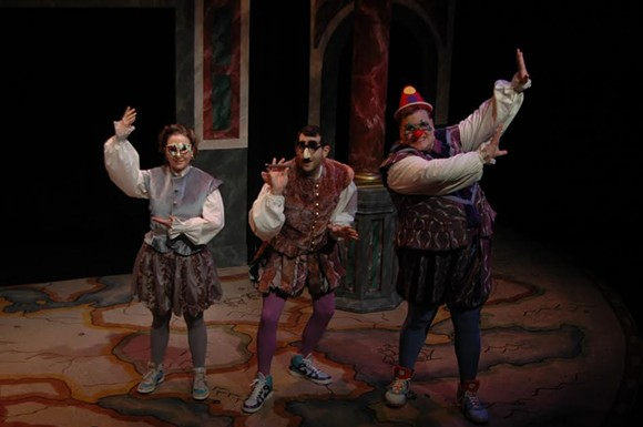 (l to r) Meghan Lisi,Joshua Hitt and Kevar Maffitt take on the Bard in the rollicking farce, The Compleat Wrks of Wllm Shkspr (Abridged,April 8 -24 n the Next Stage at Theatre Memphis - SKIP HOOPER