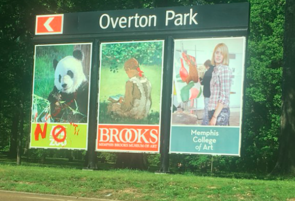"Memphis City Council member Kemp Conrad said those responsible for vandalizing this sign are part of the ""fringe element"" he spoke of Tuesday. - MEMPHIS ZOO"