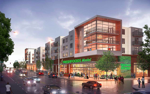 "The ""Midtown Market"" development as proposed last year. - BELZ ENTERPRISES"