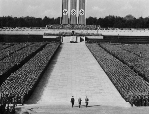 The iconic long shot of the Nuremberg rally in Triumph Of The Will. George Lucas would later reference this image for the closing scene of the original Star Wars.