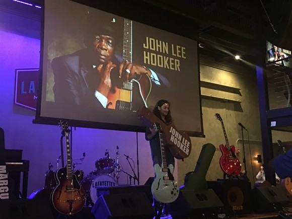 Ori Naftaly of the band Southern Avenue inducting John Lee Hooker into the Memphis Music Hall of Fame - CHRIS SHAW