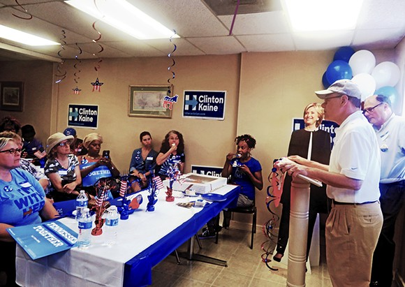Congressman Cohen, flanked by Hillary Clinton cutout and local Clinton campaign co-chair David Cambron, fired up the troops at new Hillary headquarters on Poplar Avenue. - JB
