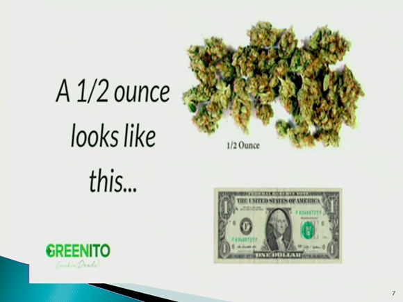 A slide from Rallings' presentation to council Tuesday showed what a half ounce of weed looks like. - MEMPHIS POLICE DEPARTMENT