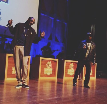 Snoop Dogg and William Bell cutting up at the Cannon Center.