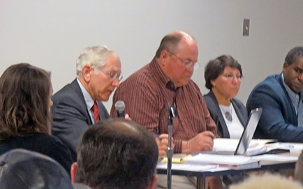 Hearing officer Bob McLean (at microphone) spells out rules of procedure for Water Quality Control Board members. - JB