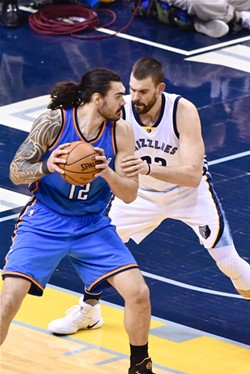 Without Conley, Gasol functioned as chief scorer, facilitator, and interior defender. - LARRY KUZNIEWSKI