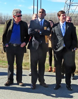 Ward Archer and state Senators Lee Harris and Brian Kelsey at site of new TVA plant - JACKSON BAKER