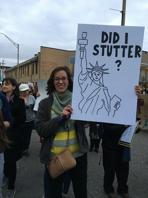 Patty Clayton, from Memphis, said that this was her first time marching in protest of political policies. - MICAELA WATTS