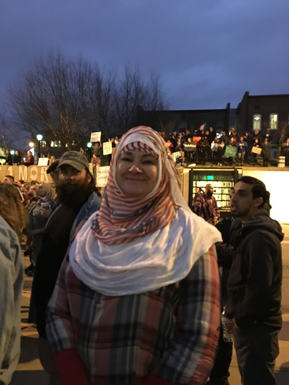 """Trudy Francis of Little Rock, Arkansas traveled to Memphis last night specifically for the pro-immigration march. """"I can trace my heritage in this country further back than Donald Trump."""" - MICAELA WATTS"""