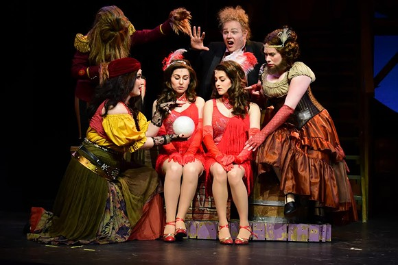 """Dani Chaum (center left) and Gia Welch (center right) as Daisy and Violet Hilton, respectively, play conjoined twins in Side Show at  Theatre Memphis on the Lohrey Stage March 10 - April 2, 2017. They are surrounded by their chosen family of """"freaks"""" played by (clockwise) Jacquelene Cooper, Amari Keon Nathaniel, Jimmy Hoxie and Jess Brookes."""