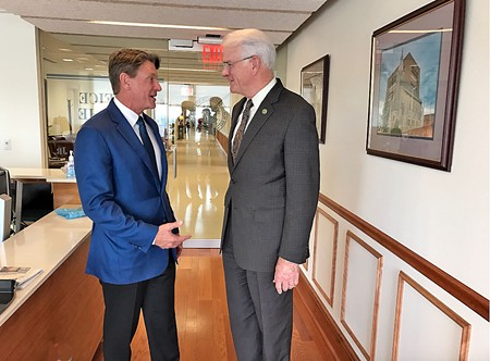 GOP gubernatorial candidate Randy Boyd with Shelby County Mayor Mark Luttrell in the Mayor's office this week - JB