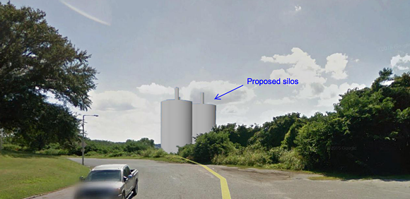 This rendering of the proposed silos shows the altered view from Metal Museum Drive, facing south. - COURTESY OF THE METAL MUSEUM