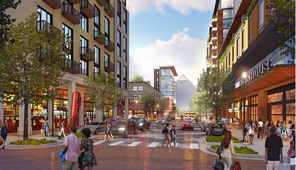 Rendering of the proposed street view to Pyramid on Overton Avenue. - COURTESY OF THE CITY OF MEMPHIS