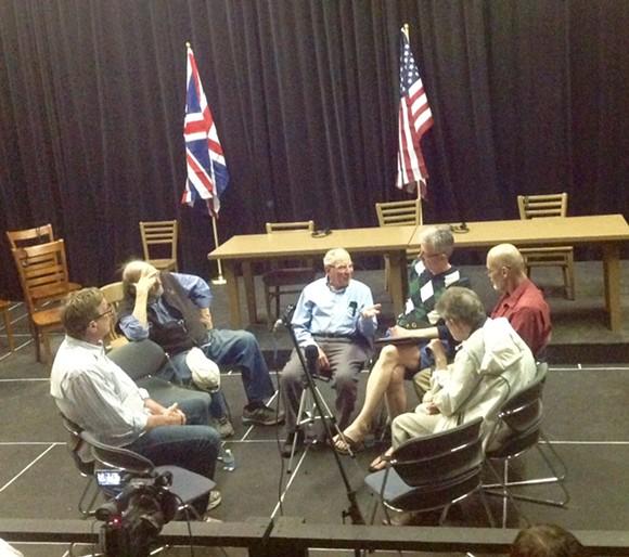 Warren Kramer (Center) talks to cast members from Judgment at Nuremberg.