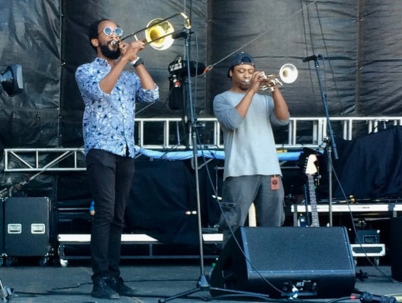 Victor Sawyer (left) and Nashon Bedford play with Dead Soldiers at BSMF '17.