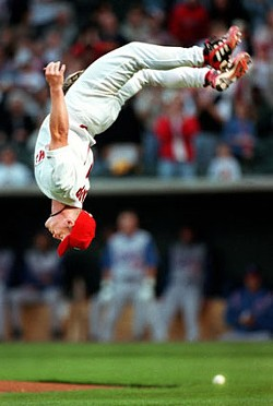 Redbirds manager Stubby Clapp is head over heels about his team's success. (This shot, of course, is from Stubby's playing days.)
