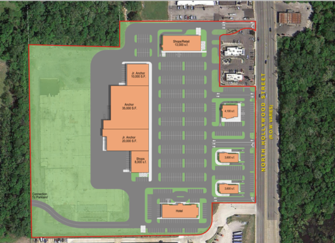 Proposed shopping center at 2571 N. Hollywood St.