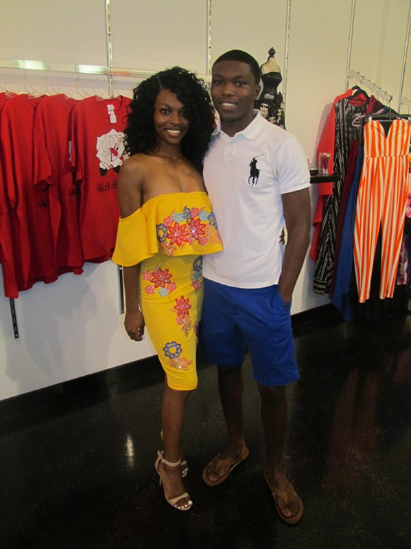 Chelse Rice and Javarrius Reaves at Lisamorgan soft opening. - MICHAEL DONAHUE