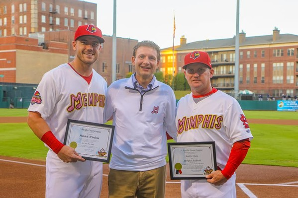 Patrick Wisdom, Redbirds president Craig Unger, and Manager Stubby Clapp