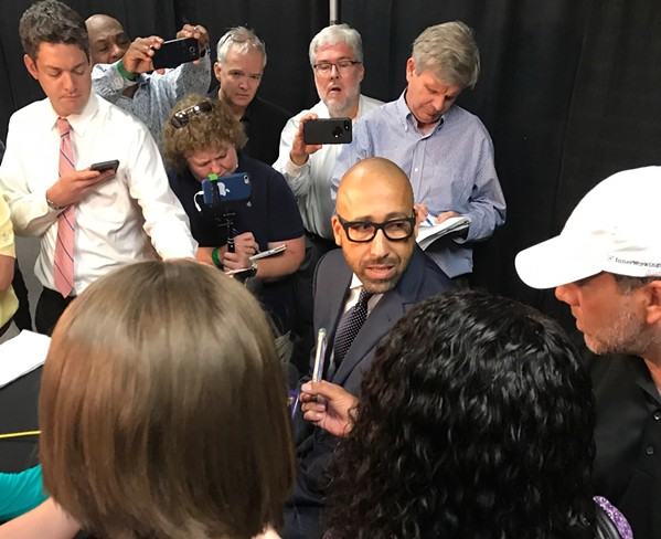 """If my guys take a knee, I'm taking a knee,"" said David Fizdale. - KEVIN LIPE"