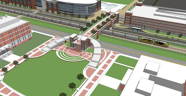 Rendering of proposed amphitheater, land bridge, and parking lot - UNIVERSITY OF MEMPHIS