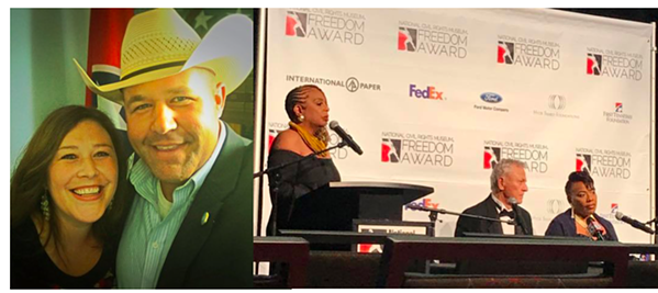 Rep. Holt gave away three AR-15s at his Turkey Shoot this year. Bernice King, far right, got a Freedom Award from the National Civil Rights Museum, despite years of anti-gay statements. - TWITTER, FACEBOOK