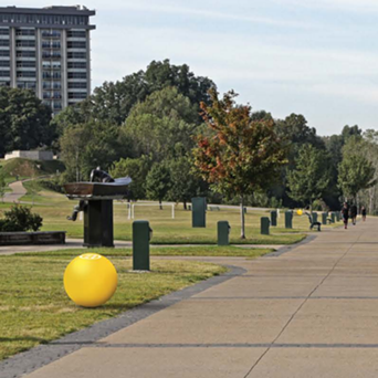 Thirty-nine concrete identification balls will line the trail - RIVERFRONT DEVELOPMENT CORPORATION