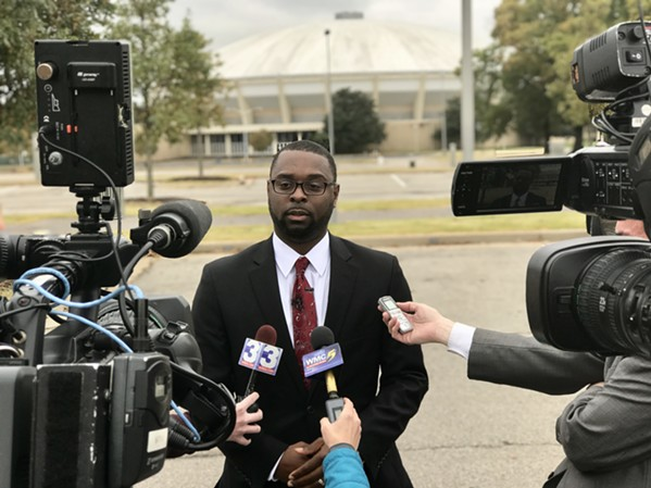 HCD director Paul Young answers questions about the city's decision to mothball the MidSouth Coliseum during a news conference Wednesday. - TOBY SELLS
