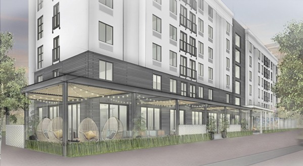 "Moxy's east-facing exterior has a ""front porch."" - SUMMIT MANAGEMENT CORP."