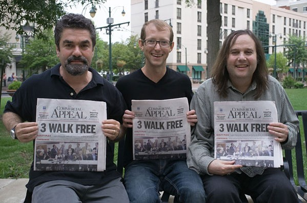 Paradise Lost directors Joe Berlinger (left) and Bruce Sinofsky (right) pose with Jason Baldwin (center).