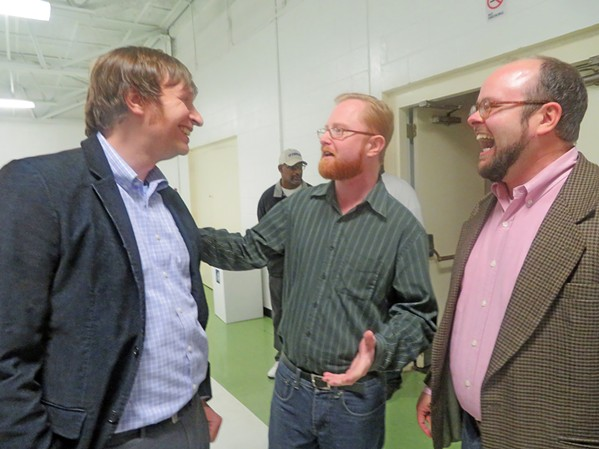 Sharing a laugh at Thursday night's Democratic/AFSCME meet 'n greet were (l to r) David Weatherspoon, who is eyeing a race for state Senate District 31; Allan Creasy, candidate for state House district 97, and John Boatner Jr., candidate for U.S. Congressional District 8. - JB