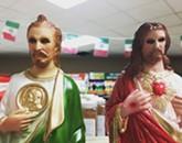 Guyliner Jesus and St. Manbun Go to Cash Saver