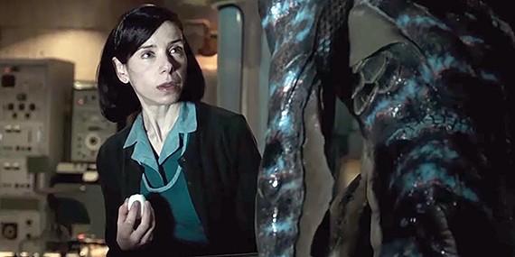 Sally Hawkins stars opposite Doug Jones in Guillermo del Toro's aquatic monster romance masterpiece, The Shape of Water.