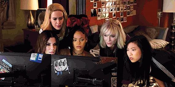 Sandra Bullock, (left to right) Sarah Paulson, Rihanna, Cate Blanchett, and Awkwafina star in Ocean's 8.