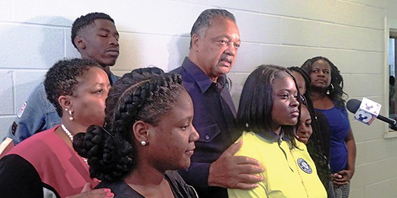 Jesse Jackson with Booker T. Washington students.