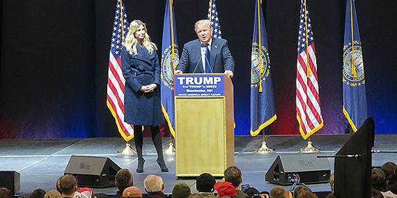 Donald Trump, with daughter Ivanka, addresses the masses in Manchester.
