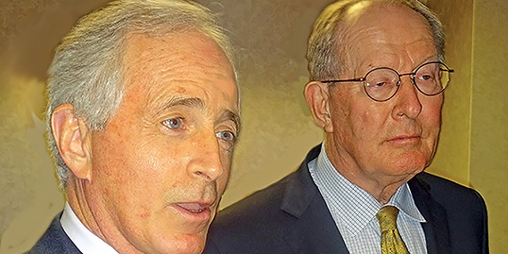Tennessee's two Republican U.S. Senators, Bob Corker (l) and Lamar Alexander, were in Memphis last weekend but shied away from picking a favorite in the GOP presidential race.