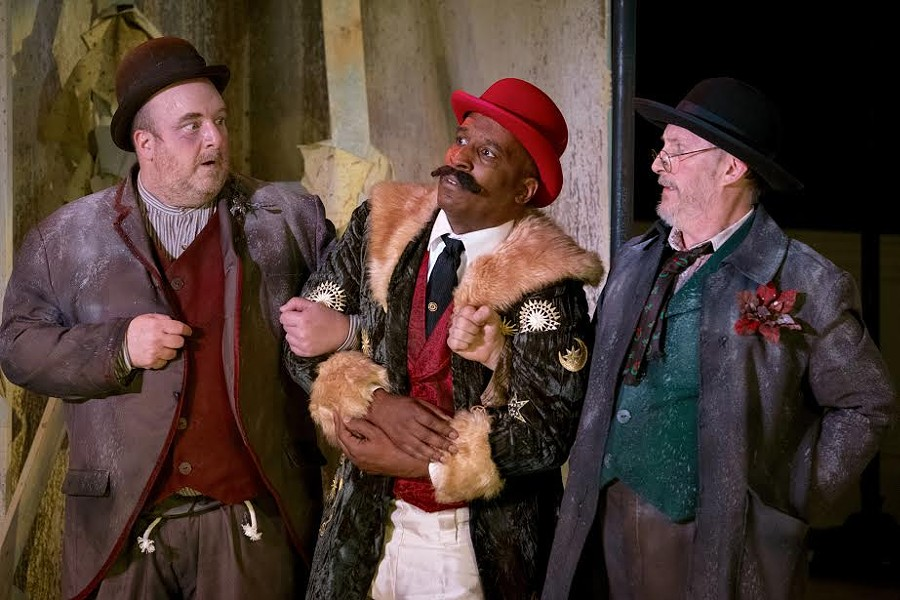 Paul Kiernan as Estragon, Phil Darius Wallace as Pozzo, and Dave Demke as Vladimir in the Tennessee Shakespeare Company's production of Waiting for Godot at the Dixon Gallery and Gardens. - JOEY MILLER.