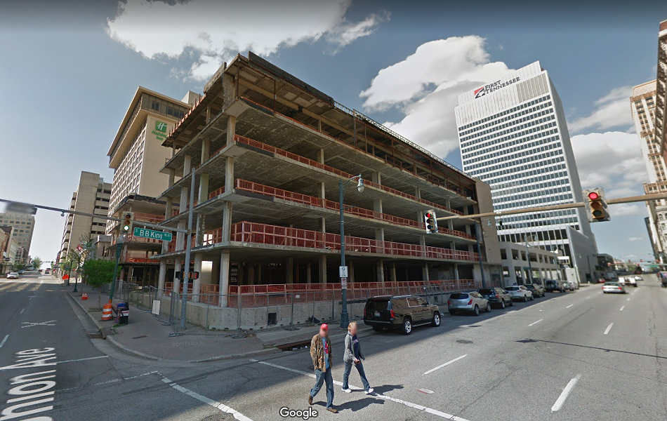 A court hearing will determine whether or not this former hotel site at Union and B.B. King is a public nuisance. - GOOGLE MAPS